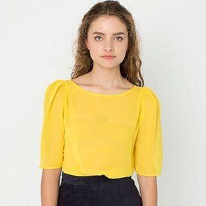 American Apparel Yellow Chiffon Puff Sleeve Top
